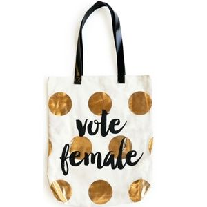 Vote Female Large Tote with Metallic Gold Accents